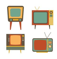 Retro tv items set on white background vector