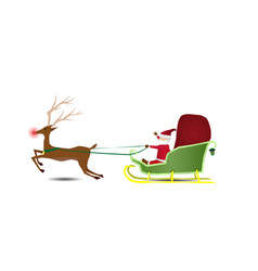 santa claus is riding a sleigh with a bag of gifts vector image