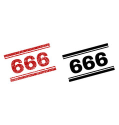 Scratched textured and clean 666 stamp prints vector
