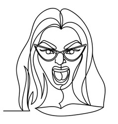 screaming woman in eyeglasses one line portrait vector image