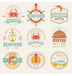 Seafood Colored Restaurant Emblems vector