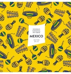 Seamless pattern of tourist attractions Mexico vector image