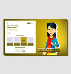 Self presentation asian female introduce vector