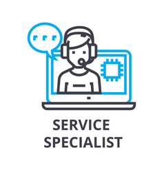 Service specialist thin line icon sign symbol vector
