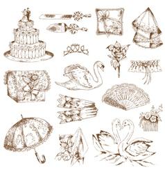 Set beautiful wedding hand drawn elements vector