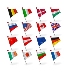 set icons flags vector image