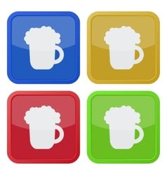Set of four square icons with beer vector
