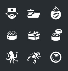 Set of japan fishing icons vector