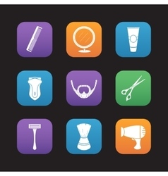 Shaving flat design icons set vector image