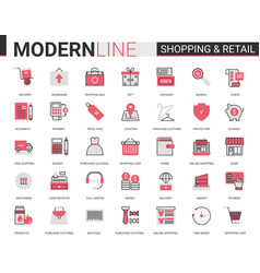 shopping retail thin red black flat line icon vector image
