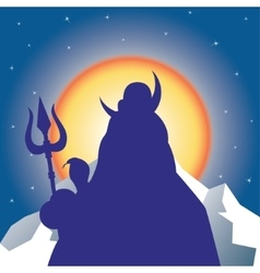 Silhouette Shiva against the sun vector
