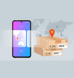 Smartphone mobile delivery package concept vector