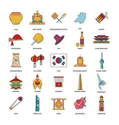 south korea icons set cartoon style vector image