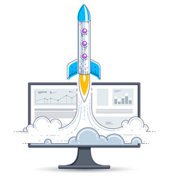 startup rocket take off over computer monitor vector image
