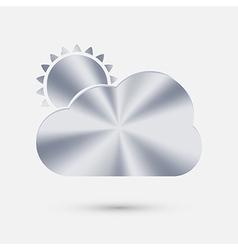 Steel icon sun behind the cloud vector