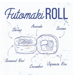 Sushi sketch futomaki roll vector