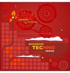 Techno Floral Red Background vector