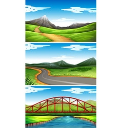 Three scenes with mountains and trails vector