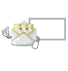 Thumbs up with board opened and closed envelopes vector