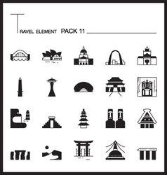 Travel Element Line Icon Set 11Landmark thin icons vector