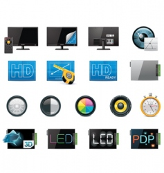 TV features icon set vector image