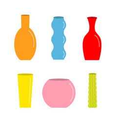 vase set cute colorful icon ceramic pottery glass vector image