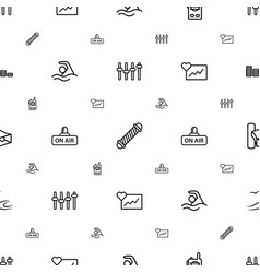 Wave icons pattern seamless white background vector
