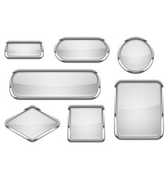White glass buttons with chrome frame set of vector