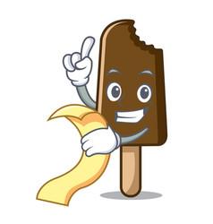with menu chocolate ice cream mascot cartoon vector image