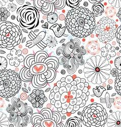 Decorative seamless graphic floral pattern with b vector image