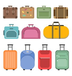different handle bags and travel suitcases vector image