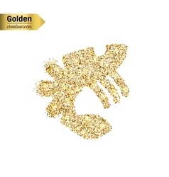 Gold glitter icon of lobster isolated on vector