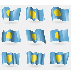 Set of Palau flags in the air vector image vector image