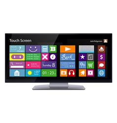Wide TouchScreen Monitor with Metro interface vector image vector image