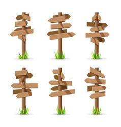 wooden arrow signboards blank set vector image vector image