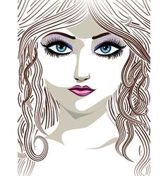 Brunette girl with blue eyes vector image