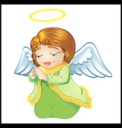 little angel in green isolated vector image