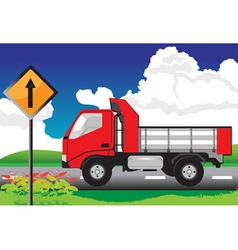 red truck on the road with signs vector image vector image