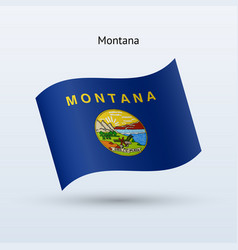State of montana flag waving form vector