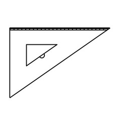 angle ruler icon tool in black contour vector image