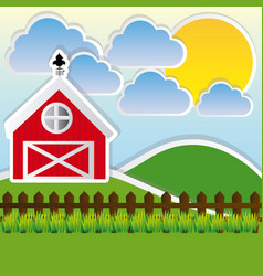 color landscape of farm and cute field vector image vector image