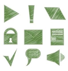 Set icons symbols arrows checkmark envelope vector image vector image