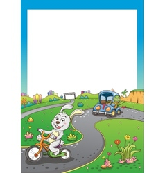 vehicles rabbit turtur background tall vector image vector image