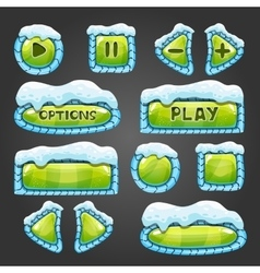 Winter green buttons with snow vector image vector image