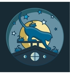 Cat catches mice on the roof night vector image