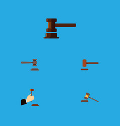 flat icon hammer set of legal defense government vector image
