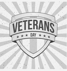 vintage shield with veterans day text vector image