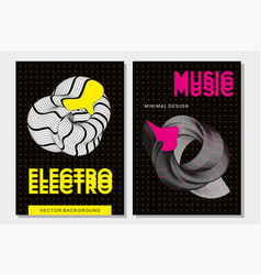 abstract music poster with 3d shapes experimental vector image