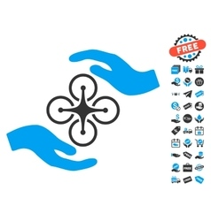 Air Copter Care Hands Icon With Free Bonus vector