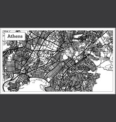 Athens greece map in black and white color vector